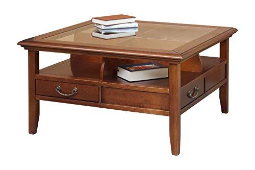 Arteferretto Table Basse 4 tiroirs et Dessus en Cristal