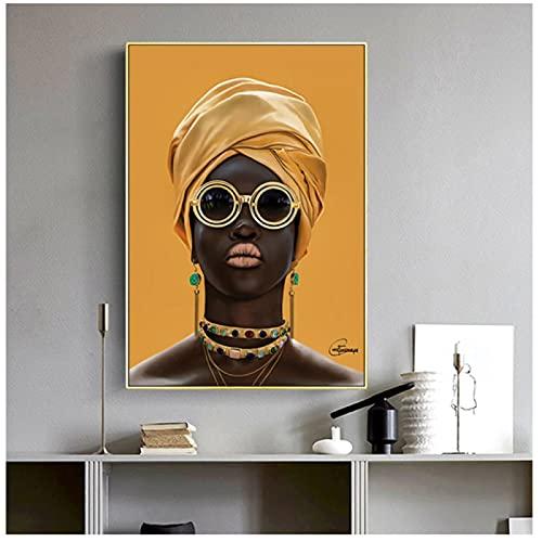 Mujer negra con gafas de sol Pintura al óleo en la pared Decoración moderna Lienzo Arte de la pared Cuadros Amarillo Mujer Africana Cartel