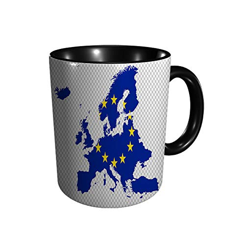 Mapa de Europa con bandera en Png o traslúcido, regalo del día de San Valentín para amigos y parejas, taza de cerámica para té/café, 325 ml