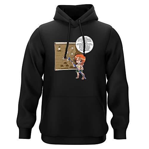 Sweat-Shirt à Capuche Noir Parodie One Piece - Nami - Les prévisions de Météo Pirate pour Le Prochain épisode ! (Sweatshirt de qualité Premium de Taille M - imprimé en France)