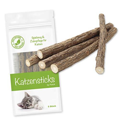 Forck Katzenminze Sticks (5 Stück), Matatabi-Kausticks als Katzenspielzeug für die natürliche Katzen Zahnpflege, Dental Kau-Sticks helfen bei Zahnstein & Mundgeruch