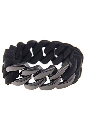 Lesllii Statement Armband Damen Armband mit großen Gliedern Damenarmband schwarz Modeschmuck Armkette aus Silikon