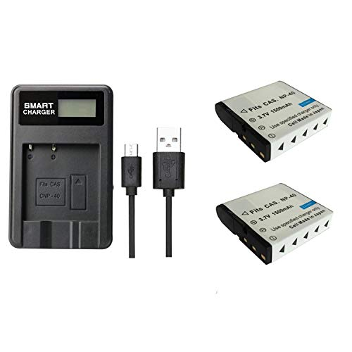2 Piezas 1500 mAh NP-40 NP40 Batería con Cargador de batería para Casio Z200 Z1050 Z750 Z1080 Z700 (2 pcs Battery with Charger)