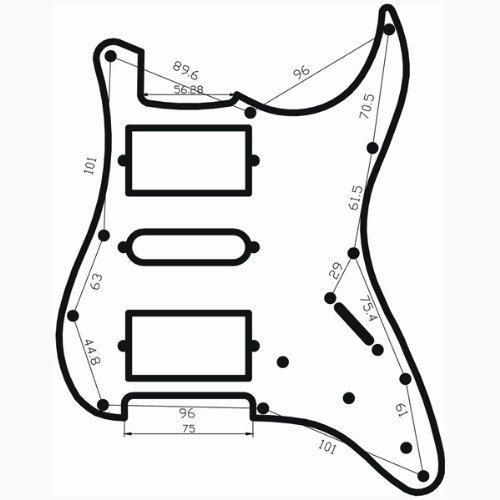 perfeclan Placa de Rasguño de Golpeador Precableado con 11 Agujeros Negros para Guitarras Eléctricas