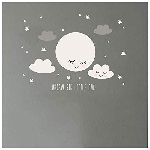 JoyRolly 1 Stück Nette Smiley Wolken Sterne Wandaufkleber Kinderzimmer Schlafzimmer Dekoration Tapete Aufkleber 50 * 20 cm
