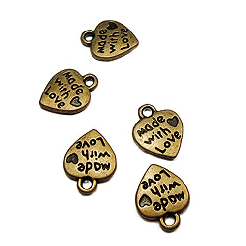 SONGAI 50pcs Love Heart Charms Pendants Jewelry,Style Name:Bronze Bracelets Earrings Rings Necklaces