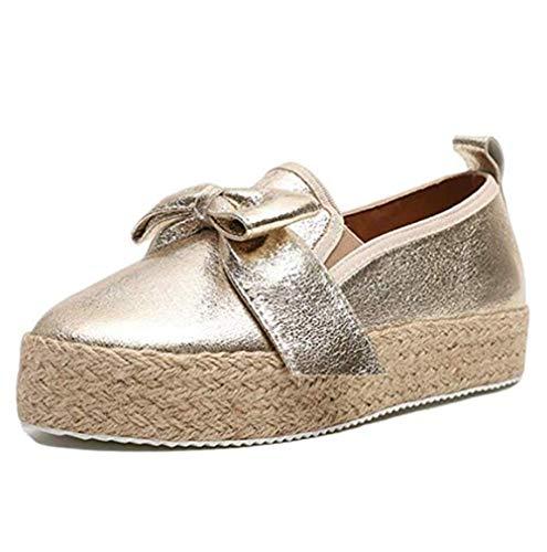 NAMENLOS Pantofole da Donna con Espadrillas Basse con Plateau, Basse da 4,8 cm, Scarpe comode Eleganti in Tela Leggera,d'oro,41