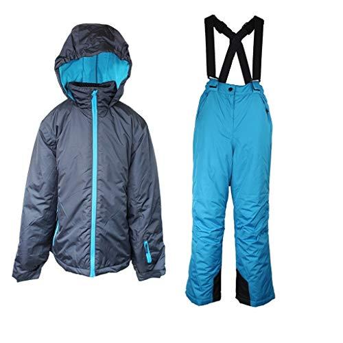 Pocopiano Mädchen Skianzug 2 Teilig Skihose+Skijacke Schneheanzug Schneehose + Schneejacke Grau/Blau 140