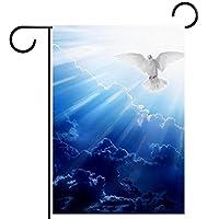 ガーデンヤードフラッグ両面 /12x18in/ ポリエステルウェルカムハウス旗バナー,ペンテコステの聖霊の鳩