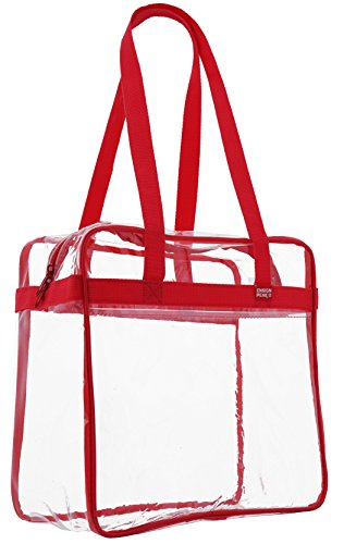 "Ensign Peak Clear Tote Bag NCAA, NBA & NFL Stadium Approved - 12"" X 12"" X 6"" - Shoulder straps and zippered top, Red"