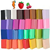 Super Valuable 32 Colors Small Block Polymer Clay Set Oven Bake Clay, Tomorotec Non-Toxic Molding DIY Clay Oven Baking Clay for Kids, Artists (Softer)