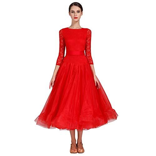 Vestidos De Baile De Saln Estndar Nacional De Manga Larga, Ropa De Baile De La Competencia De Las Mujeres, Disfraz De Baile De Tango De Vals Moderno (Color : Red, Size : L)