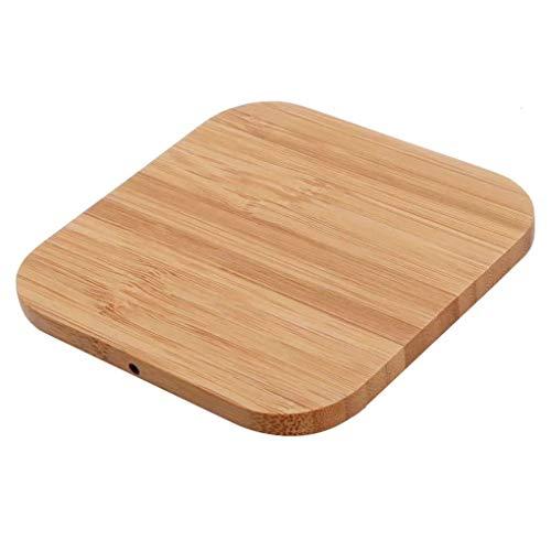 DANDANdianzi Qi Certified Fast-Platz Bambus drahtloser Bambus drahtlose Ladegerät Holz Pad kompatibel für Samsung Galaxy