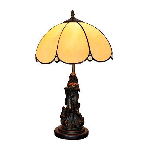 ZLININ 12 pulgadas lámpara de escritorio europeo retro mediterráneo crepúsculo salón comedor dormitorio interior mesita de noche barra simple lámpara de cristal lámparas de mesa