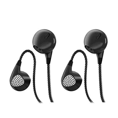 CBGGQ 2 Pares Auriculares In Ear, Auriculares con Micrófono y Mando a Distancia, Graves Pesados Estéreo con Sonido Puro y Graves Potentes, Auriculares para iOS y Android, Portátiles, MP3. (Negro)