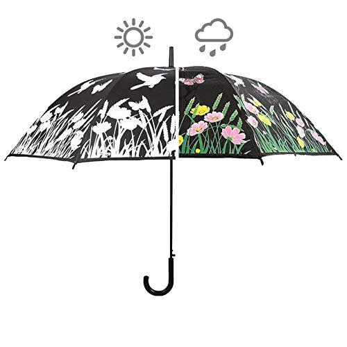 SIDCO Regenschirm Farbwechsel Vögel Zauberschirm Schirm Stockschirm wechselt Farbe