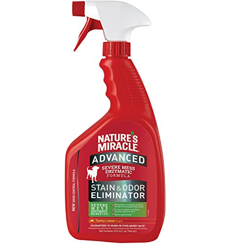 Nature's Miracle P-96987 Advanced Stain and Odor Eliminator Dog, For Severe Dog Messes, Sunny Lemon Scent,32 oz