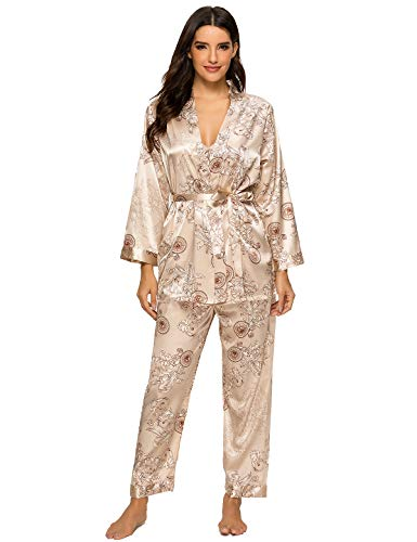 Escalier Women's Silk Satin Pajamas Set 3 Pcs Floral Silky Pj Sets Sleepwear Cami Nightwear with Robe and Pants Camel XL