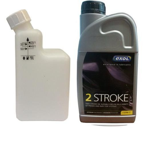 Exol 1 Litre two stroke Oil with mixing bottle - motorbike lawnmower chainsaw strimmer scooter moped...