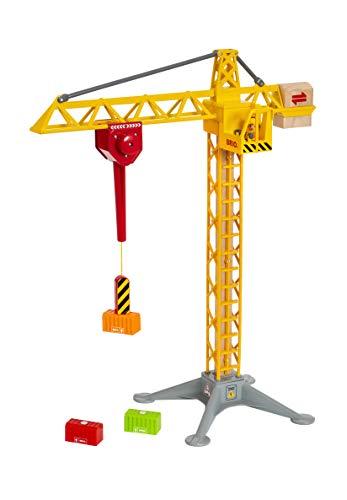 BRIO World 33835 Großer Baukran mit Licht – Zubehör für die BRIO Holzeisenbahn – Kleinkinderspielzeug empfohlen ab 3 Jahren