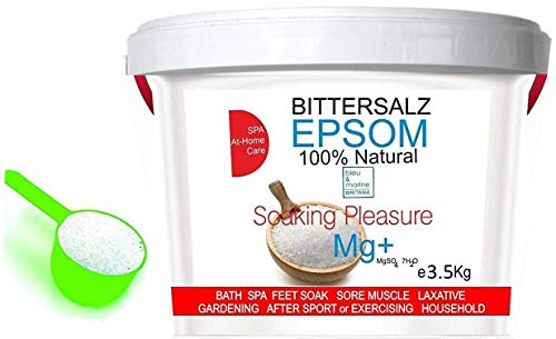 ORGANISCHER Bittersalz ● Epsom Salz Baden Soaking Pleasure ● Apothekenqualität für Ihre Gesundheit Badesalz Magnesiumsulfat Epsom Salt Food grade Magnesium pure (3.5 kg)