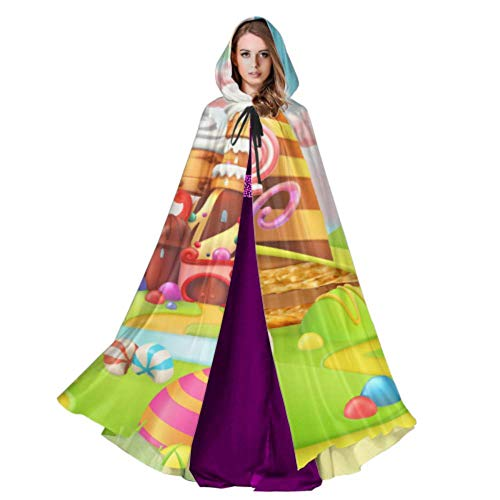 Sweet Candy Land Cartoon Game Adult Witch Cloak Hooded Cloak for Men 59inch for Christmas Halloween Cosplay Costumes