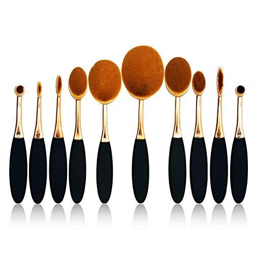 WeiHaoJian 10pcs Miroir Plaqué Doux Mélange Maquillage Brosses Set Ovale Brosse à Dents en Forme De Maquillage Brosse Base Ovale Maquillage Cache-Cernes Pinceau Poudre Set - Or