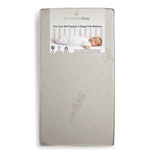 %10 OFF! BreathableBaby Eco Core Organic 300 Crib Mattress for Baby, Lightweight, Non-Toxic, Water &...