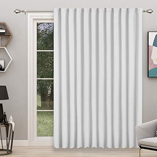 FLOWEROOM Room Divider Curtain, 8.3ft Wide x 9ft Long, Greyish White – Blackout Curtains for Bedroom Partition/Living Room, Large Thermal Back Tab/Rod Pocket Privacy Curtain Panel for Sliding Door