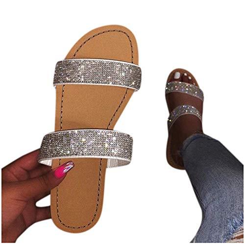 Sandals for Women,Fudule Comfy Shining Diamond Roman Shoes Casual Summer Beach Travel Indoor Outdoor Flip Flops Slipper