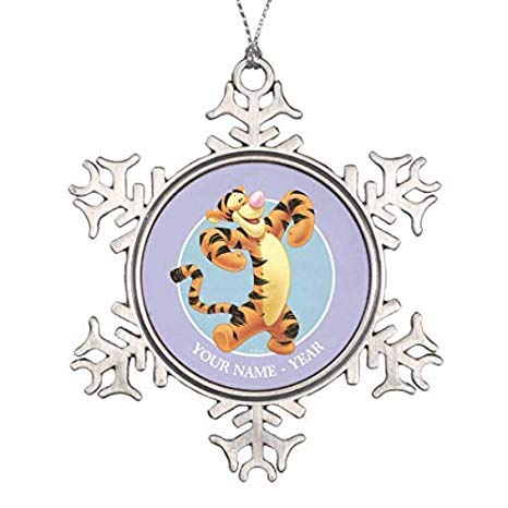 Decorations Personalized Ornament Tigger Standing Add Your Name Snowflake Pewter Christmas Ornament