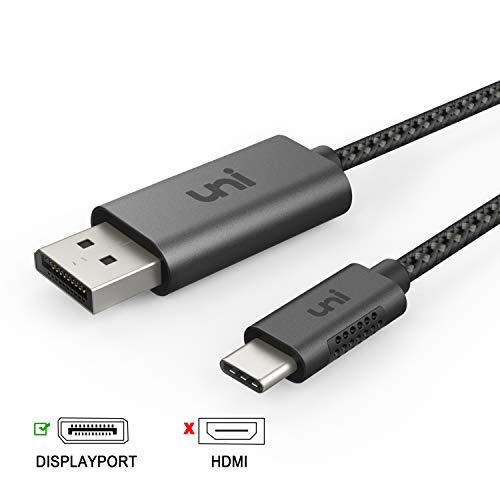 uni USB C zu DisplayPort-Kabel (4K@60Hz, 2K@144Hz), Thunderbolt 3 zu DisplayPort-Kabel, Kompatibel für MacBook Pro 2019/2018/2017, MacBook Air, iPad Pro 2020/2018, XPS15, Surface Book usw. 6ft/1,8m