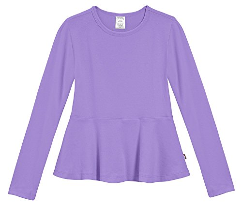 City Threads Little Girls' Cotton Long Sleeve Peplum Top Blouse Shirt for School, Parties or Play Perfect for Sensitive Skin and Sensory Friendly SPD, Deep Purple, 4T