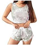 Camisetas Mujer Tirantes y Pantalones Cortos Mujeres Tie-Dye Gradient Color Leisure Suit Home Tops Set Shorts Blusas y Camisas de Mujer