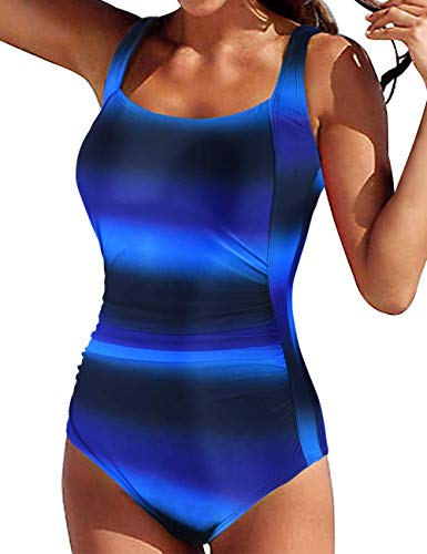 Firpearl Women's Black One Piece Swimsuit Padded Push Up Ruched Tummy Control Swimwear 18 Black&Blue