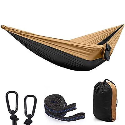 "Camping Hammock, Portable Parachute Hammocks for Outdoor Hiking Travel Backpacking 210D Nylon Swing for Backyard & Garden 118"" L X 78"" W Hammocks-4-5-tuo HEI"