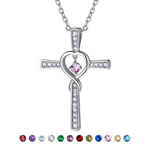 October Birthstone Necklace Sterling Silver Personalised Jewelry Cubic Zirconia Opal Cross Infinity Pendant Necklace for Women