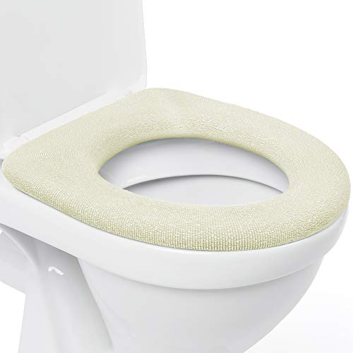 Medipaq Toilet Seat Cover - Super Warm Comfy Fleece - Retaining Ring - Universal Fit - Machine Washable - 2X Cream …