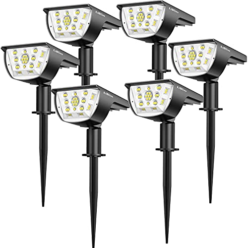 Solar Landscape Spotlights Outdoor, [6 Pack/3 Modes] LiBlins 2-in-1 Solar Landscaping Spotlights, IP67 Waterproof Solar Powered Wall Lights for Yard Garden Patio Driveway Pool (Cold White/33 LED)
