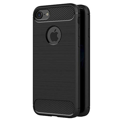 Coovertify Funda Fibra de Carbono Negra iPhone 7/8, Carcasa Negra TPU Gel Silicona Flexible Textura Efecto Fibra de Carbono para Apple iPhone 7 / iPhone 8 (4,7')