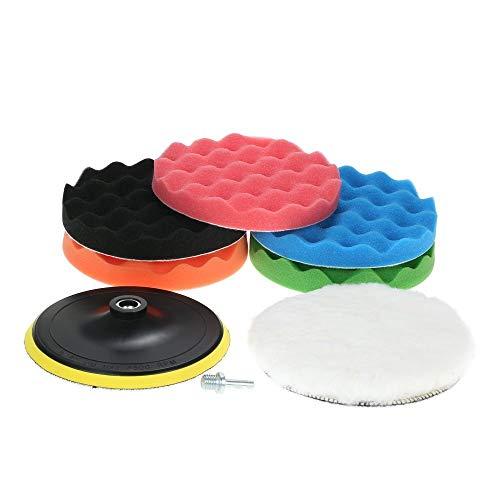 CENPEN Juego de 7 esponjas de pulido para coche de 80 mm, 125 mm, 150 mm, 180 mm, incluye 5 almohadillas de pulido + 1 pulidor de lana + 1 adhesivo