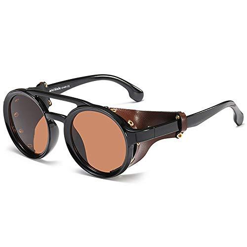 SHEEN KELLY Gafas de sol de moto góticas Gafas de sol redondas vintage envoltura Side Shield Gafas de sol retro Steampunk Hombres Mujeres