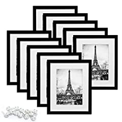 MULTIPLE FRAMES &STURDY MATERIAL: Bulk of 10 pieces 8x10 picture frame set in the same sizes.These frames light but firm,come with high definition glass to protect your picture. Size:These 8 x 10 picture frame are designed to fit a 5x7 photo with mat...
