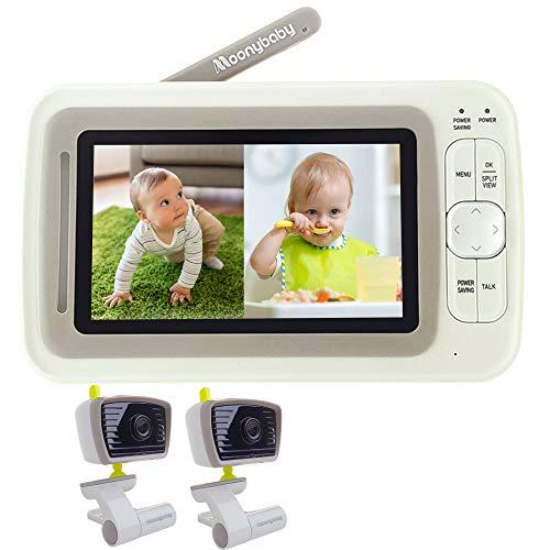 Moonybaby Split 30 Video-Babyphone mit 4,3-Zoll-Split-Bildschirm, Weitwinkel-Nachtsicht, 2,4 GHz, Gegensprechfunktion, Schlaflied, Temperatursensor, VOX-Modus, 2x Kameras & Fernanzeige