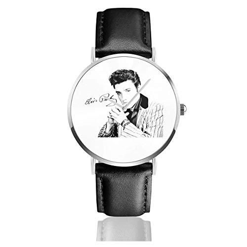 EL-vis Presley Lederarmbanduhr Lässiges Edelstahl-Quarzarmband Schwarzes Lederband und dünnes Zifferblatt