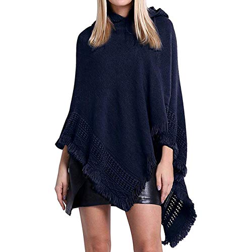 FXYY dames capuchon Poncho Cape met franje Hem, elegante gehaakte Poncho breipatronen trui sjaals wraps voor vrouwen