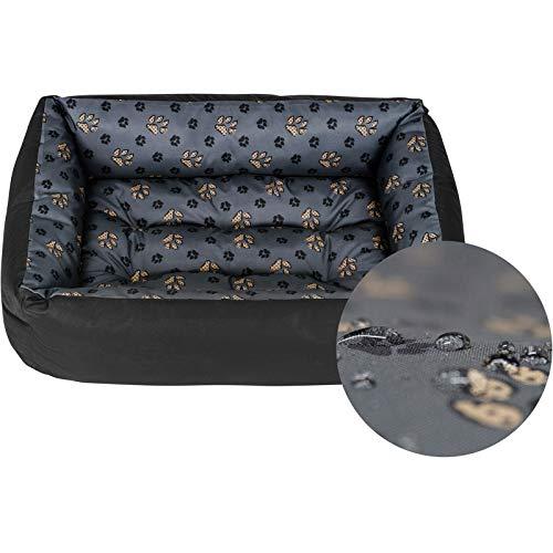 Hundebett Hundekorb Hundesofa Tierbett für Kleine, Mittlere und Grosse Hunde - Waschbar - Größe XL - Schwarz und Grau - Pfoten