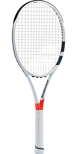 "Babolat Pure Strike Team Grey / Orange Tennis Racquet (4"" Grip) Strung with Grey Tennis Racket String"