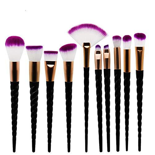GDYX Pinceau de maquillage Lot de 10 pinceaux de maquillage, noir Spiral Outline Foundation Ombre à paupières pinceau, Purple Hair Foundation Brush noir