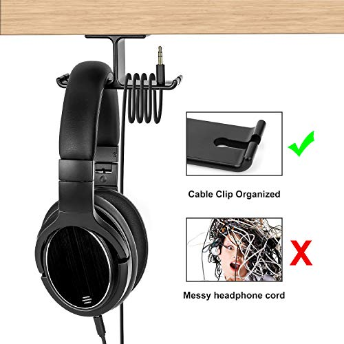 Headphone Hanger Aluminum Headset Holder, Link Dream Gaming Headset Headphone Hook Holder Hanger Mount Under Desk with Cable Organizer for All Headphones